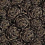 Roses d'or sur un fond noir Photographie stock