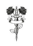 Roses dagger tattoo Stock Images