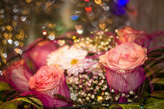 Roses and daisies in bouquet close-up Royalty Free Stock Image