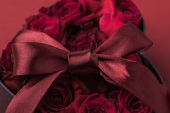 Roses dans le boîte-cadeau en forme de coeur avec le ruban sur le rouge, concept de vacances de jour de valentines de St Photo stock