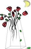 Roses dans le vase en verre Photos stock
