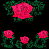 Roses dans les branches, feuilles, cadre décoratif Illustration Stock
