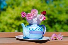 Roses dans une théière Photo stock