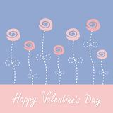 Roses with dash line stalks. Happy Valentines Day. Love card. Rose quartz serenity color Royalty Free Stock Image