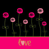 Roses  with dash line stalks. Vector love card. Black, pink and Royalty Free Stock Photo