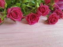 roses de belles vacances en bois roses de fond Photo stock
