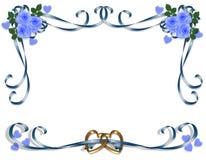 Roses de bleu d'invitation de mariage Photographie stock libre de droits