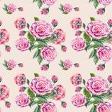 Roses de bouquet d'aquarelle sur un fond crème Modèle sans couture pour le gesign Photos libres de droits