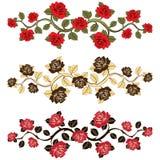 Roses de branche de fleur réglées Ornement avec des roses Illustration Stock