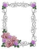 Roses de cadre d'invitation de mariage Photos stock