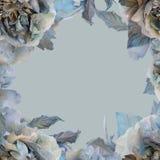 Roses de fleurs sur un fond de couleur Carte de voeux des roses en soie illustration de vecteur