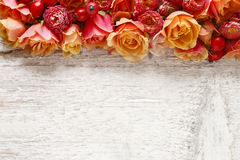 Roses de rose en pastel sur le fond en bois Photo stock