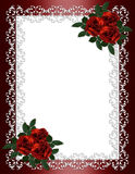 Roses de rouge de cadre d'invitation de mariage Photo libre de droits