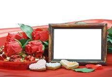 Roses de Saint-Valentin et trame de photo avec l'espace pour le texte Images libres de droits