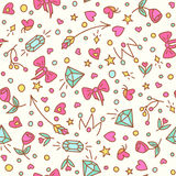 The roses and diamond seamless pattern. Royalty Free Stock Image