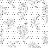 Roses on dots seamless pattern Royalty Free Stock Images
