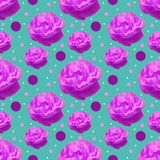 Roses and dots seamless pattern. Isolated purple rose flowers and colored dots on a  turquose background Royalty Free Stock Image