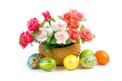 Roses and Easter eggs Royalty Free Stock Photography