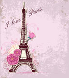 Roses and Eiffel tower Royalty Free Illustration