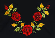 Roses embroidery on black Stock Photography