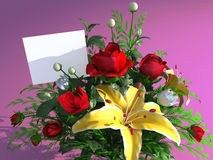 Roses and empty card Stock Images
