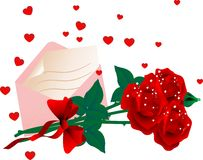 Roses and envelope Royalty Free Stock Images