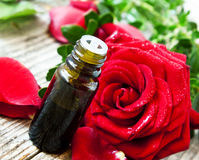 Roses Essential Oil Bottle Stock Images