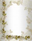 Roses et bandes d'or de cadre de mariage illustration libre de droits