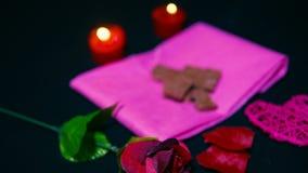 Roses et bougie brûlant pour le Saint Valentin doux de moment longueur banque de vidéos