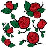 Roses et bourgeons de style de tatouage illustration de vecteur