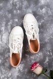 Roses et chaussures à la mode Photos stock