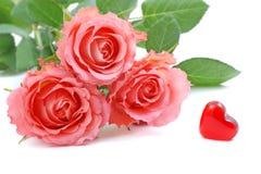 Roses et coeur de Valentine Image libre de droits