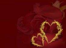 Roses et coeurs d'amour de Valentine Image libre de droits