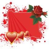 Roses et fond de coeurs Photo libre de droits