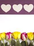Roses et formes de coeur Photos stock