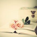 Roses et livre de vintage Photographie stock libre de droits