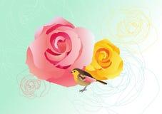 Roses et oiseau illustration de vecteur