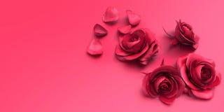 Roses et pétales d'amour de jour de valentines sur le fond rose Images stock
