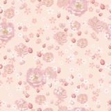 Roses roses et petites fleurs blanches sur le fond de corail illustration libre de droits