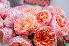 Roses exotiques des variétés modernes roses d'élite dans le bouquet comme cadeau Fond Foyer sélectif photos stock