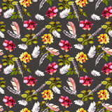 Roses and feathers. Seamless pattern. Watercolor Royalty Free Stock Photography