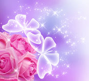 Roses fleur et papillons Image libre de droits