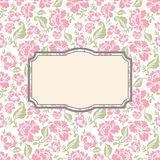 Roses floral card. Frame template to text. Royalty Free Stock Images