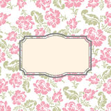 Roses floral card. Frame template to text. Vector illustration b Stock Images
