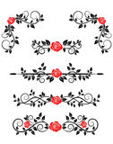 Roses with floral embellishments stock illustration