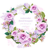 Roses floral round wreath frame card. Vintage delicate bouquet beauty Vector illustration royalty free illustration
