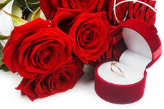 Roses flower and golden ring Stock Photos
