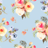 Roses flower watercolor seamless pattern in blue Stock Image