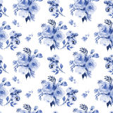 Roses flower watercolor seamless pattern in dark blue a. Abstract roses flower watercolor seamless pattern in dark blue and white Stock Photography
