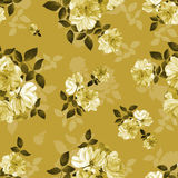 Roses flower watercolor seamless pattern in gold. Roses flower watercolor seamless gold pattern Royalty Free Stock Photos